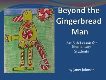 When I was a full time art teacher and taught this lesson to my students, they loved it! Kids naturally get excited thinking about gingerbread houses and gingerbread men.  Who knew, right?  (wink)  So now that I am retired and substitute teach in art, I like to teach my old lessons that were sure fire hits.This one is based off of the idea of the gingerbread man and gingerbread houses.
