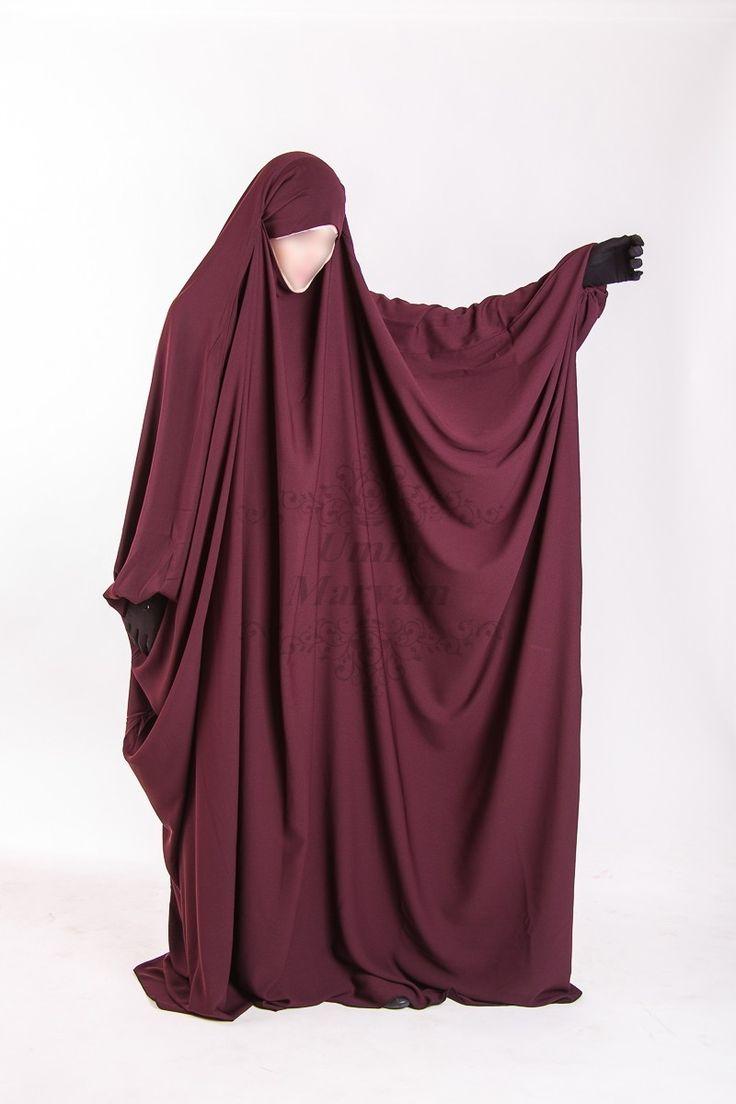Umm Maryam burgundy jilbab, crepe fabric high quality with integrated cache chin…