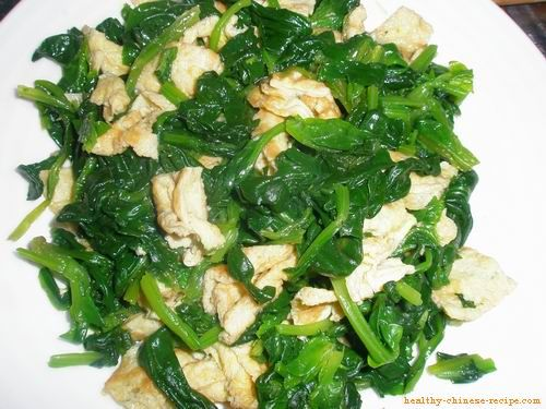 Spinach Egg Salad Recipe. Help to remove heat, relieve constipation.