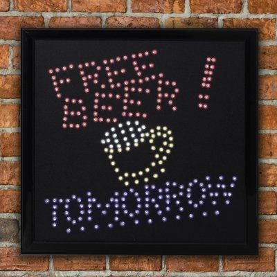"CYRG Framed ""Free Beer Tomorrow"" LED Marquee Sign"