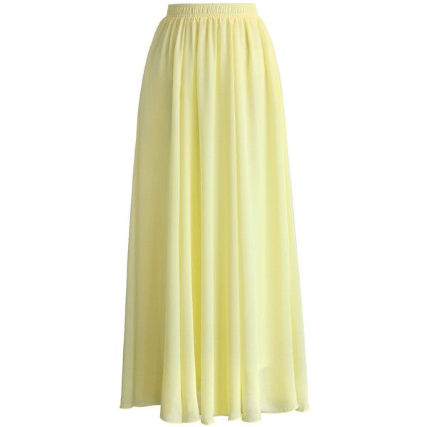 Chicwish Light Yellow Chiffon Maxi Skirt (38 PAB) ❤ liked on Polyvore featuring skirts, bottoms, maxi skirt, yellow, pleated skirt, long pleated skirt, yellow skirt and long beige skirt
