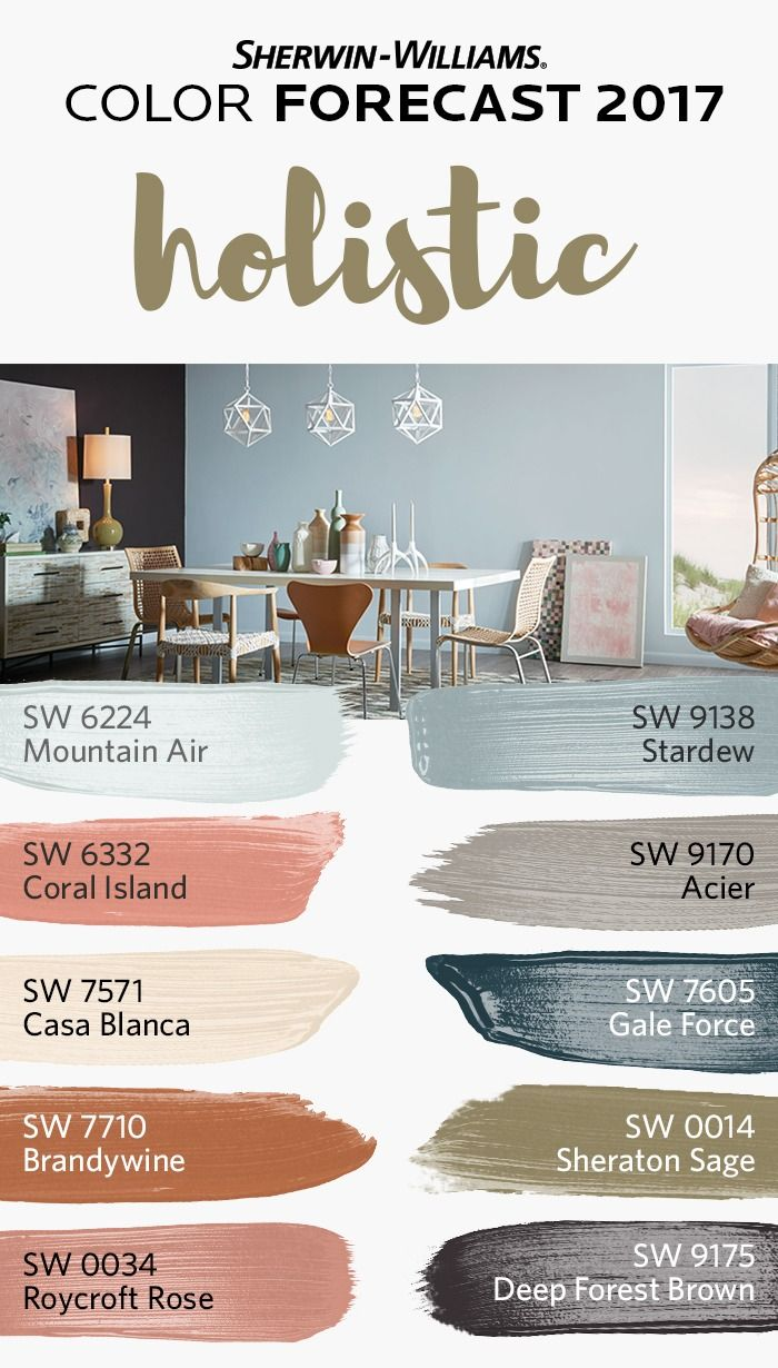 At the heart of sustainable design and radical transparency, where luxury and austerity intersect, we discover our holistic palette, one of four from the Sherwin-Williams Color Forecast 2017. In this palette, arctic neutrals, blush rose and wild browns thrive together.   Colors include: Mountain Air SW 6224, Coral Island SW 6332, Casa Blanca SW 7571, Brandywine SW 7710, Roycroft Rose SW 0034, Stardew SW 9138, Acier SW 9170, Gale Force SW 7605, Sheraton Sage SW 0014, Deep Forest Brown SW…