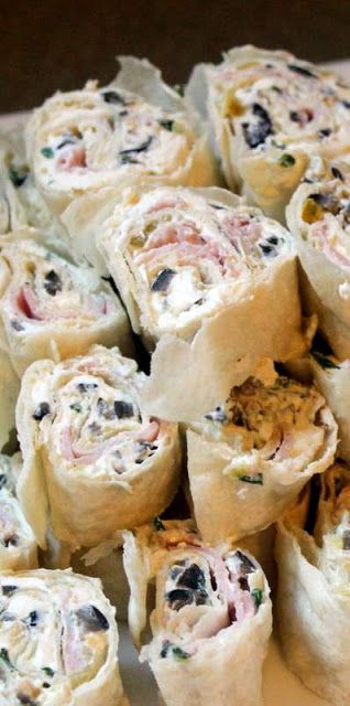 Tortilla Roll-ups Recipe ~ great appetizers... cream cheese, ham, green chiles, black olives, chives