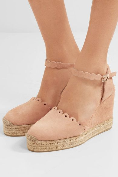 Wedge heel measures approximately 100mm/ 4 inches with 30mm/ 1 inch platform Blush suede Buckle-fastening ankle strapSmall to size. See Size & Fit notes.