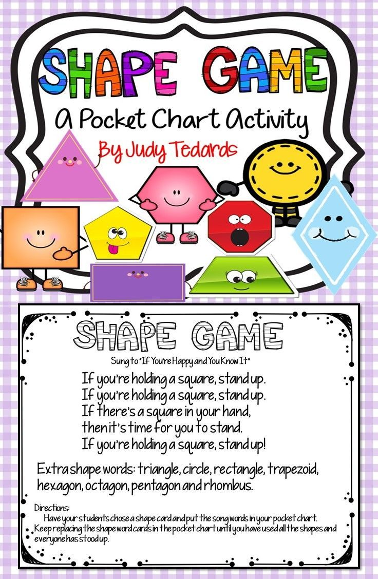 "This pocket chart song and activity will help teach shapes to your young students. The shapes included are: square, circle, triangle, pentagon, hexagon, octagon, trapezoid, rhombus, and rectangle. The song is sung to the tune ""If You're Happy and You Know It."" Place the word cards in your pocket chart and pass out different shapes to your students. There are six different versions of each shape."