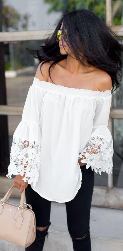 White Crochet Bell Sleeves Top by Walk In Wanderland