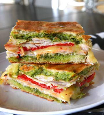 Turkey, pepper, & pesto panini