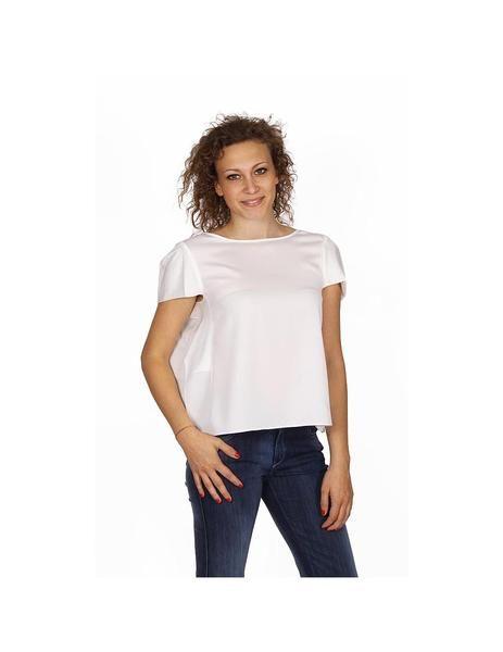 Armani Collezioni ladies shirt short sleeve without buttons RMC17T RM332 101: Armani Collezioni ladies shirt short sleeve without buttons RMC17T RM332 101 White 36 IT - 0 US