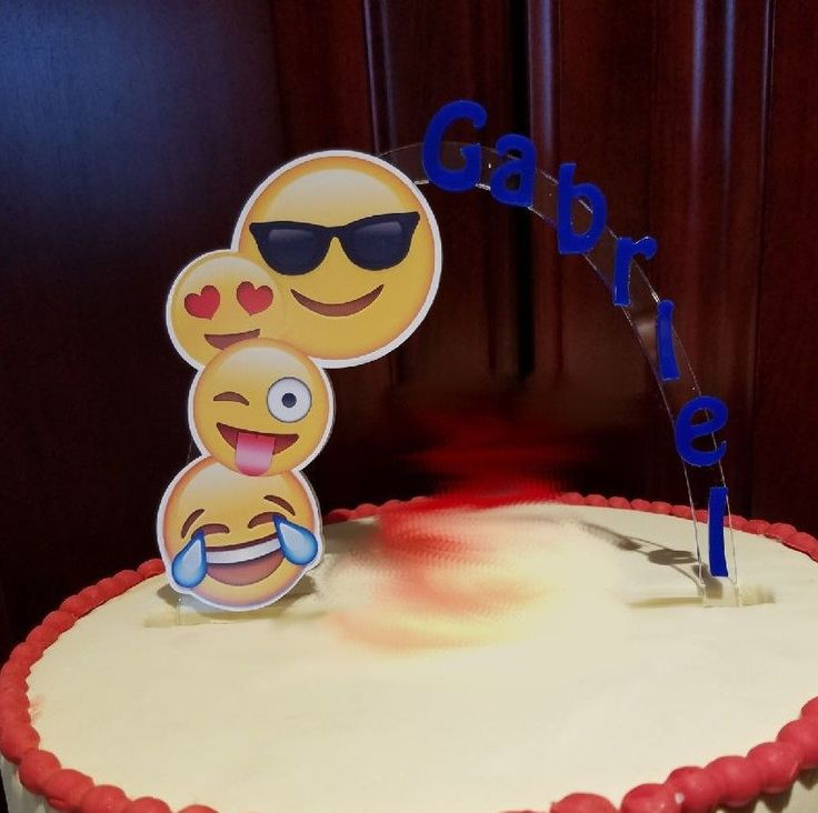 Emoji Happy Face Personalized Cake Topper Or Any Character Cake Decoration