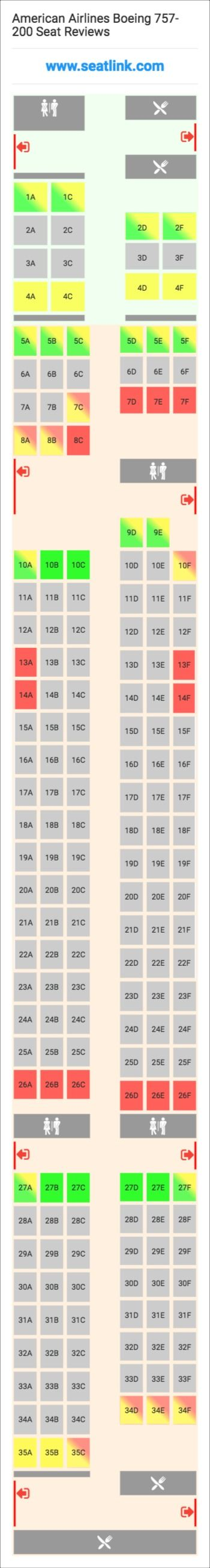 American Airlines Boeing 757-200 (752) Seat Map | Delta ...