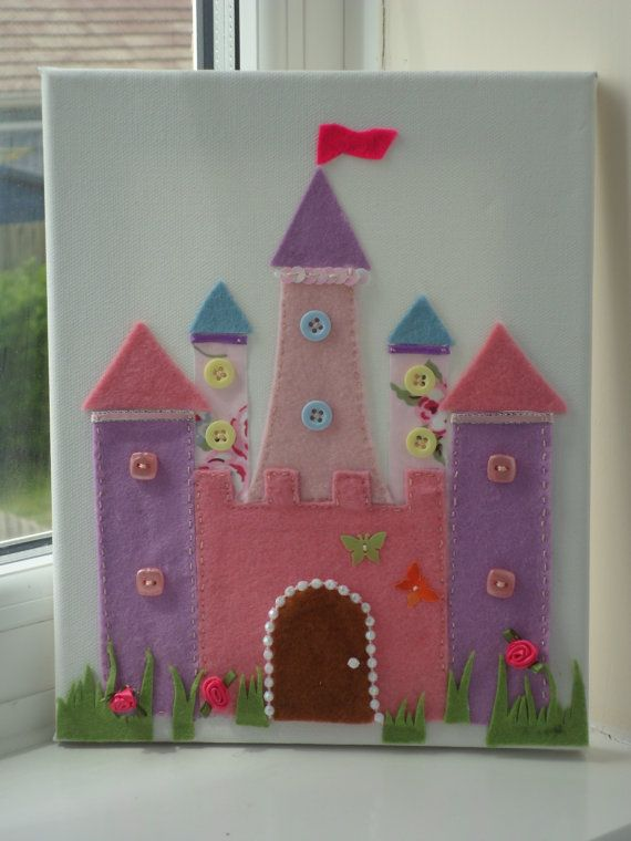 Fairy Princess Castle, Princess Deocration,Felt Picture.New Baby Gift,Personalised,Christening Gift,First Birthday Gift