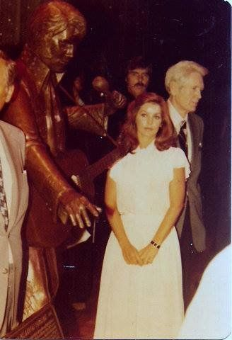 Priscilla and Vernon at the unveiling of the Elvis Bronze statue at the Las Vegas Hilton in 1978.