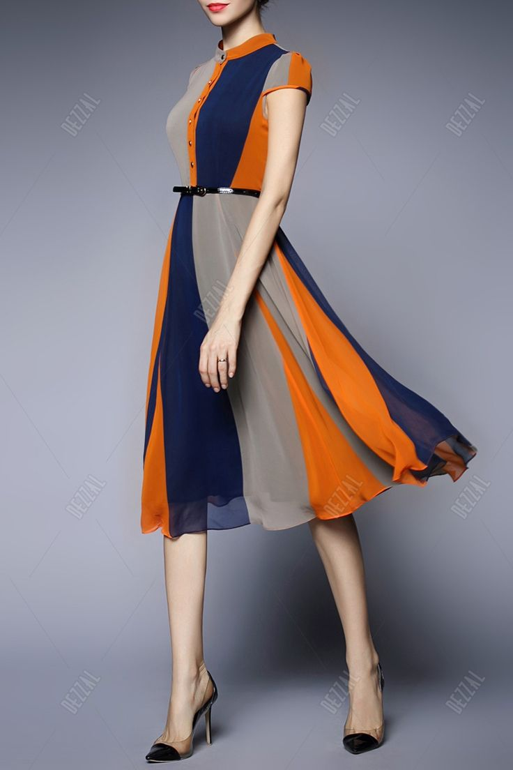 Stripe Color Block Chiffon Dress