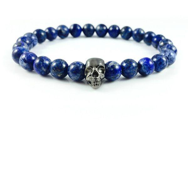 Męska bransoletka lapis lazuli z czarną czaszką w Dizarro na DaWanda.com