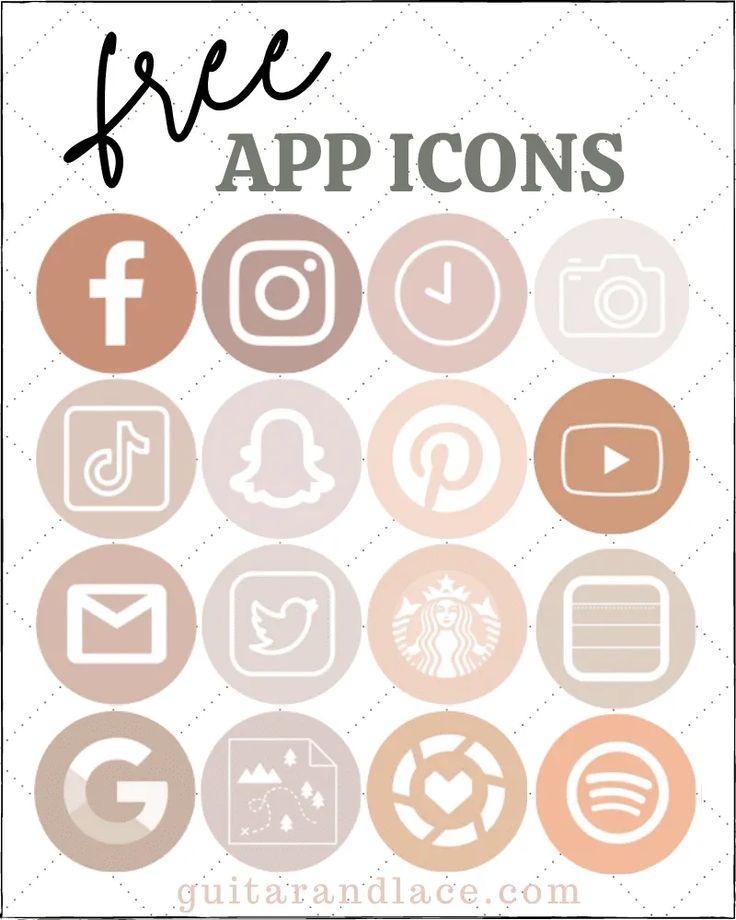 Free Aesthetic iPhone APP Icons in 2020 Ios app icon