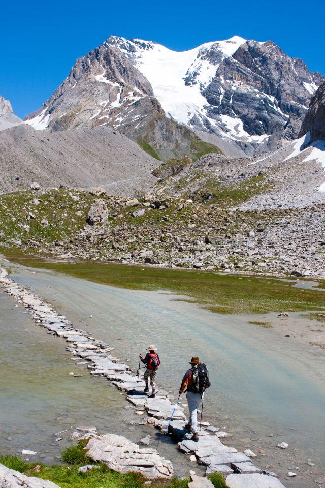 le lac des vaches. Randonnée autour des glaciers organisé pendant le Trail
