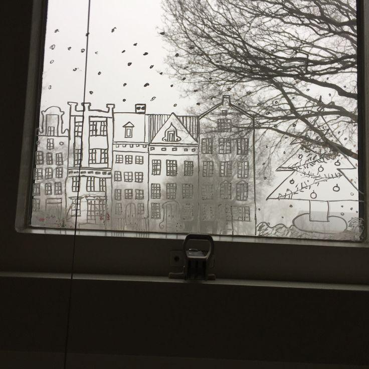 #amsterdam #raamtekening #snow