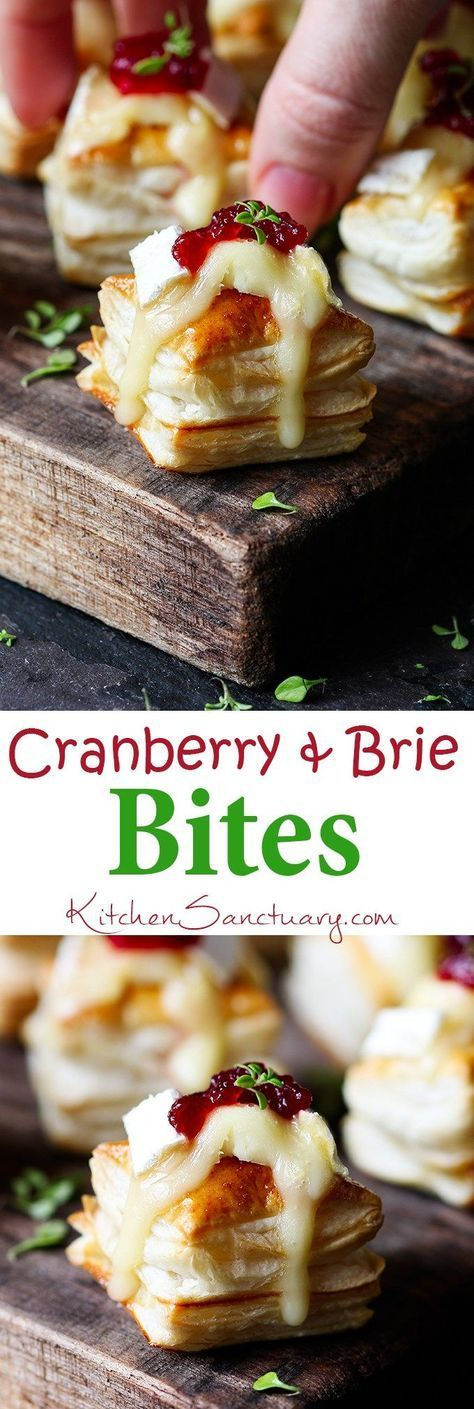 Cranberry and Brie bites - a simple appetizer or party snack that always gets polished off in minutes! #ThanksgivingRecipes