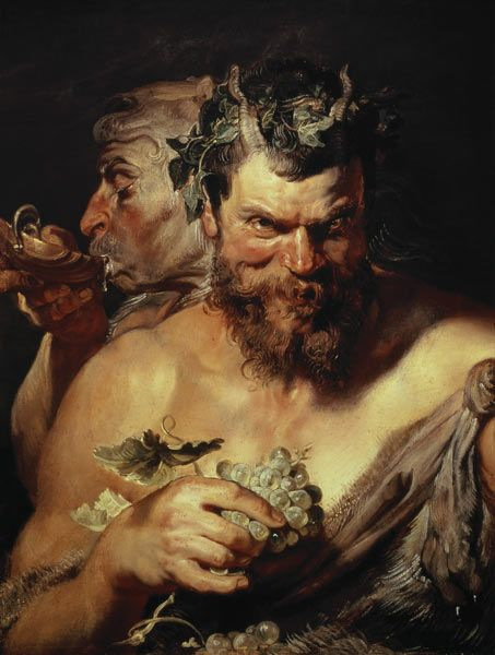 Two Satyrs 1618-1619 by Peter Paul Rubens Oil painting
