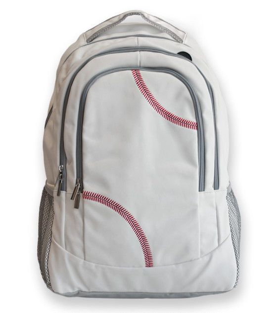 Sport Backpack Actual Baseball Leather Red baseball stitching fully padded back #Zumer #Backpack
