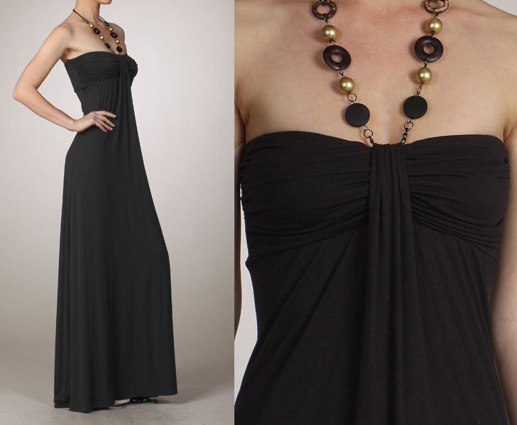Black Strapless Maxi Dress with Necklace Attached