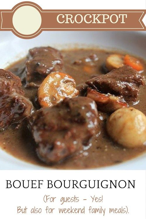 Crockpot boeuf bourguignon can be made easily with just a tiny bit of preparation. I used gluten-free flour and alcohol-free wine. Your house will smell heavenly all day!