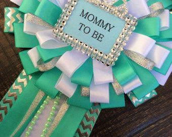 12 aqua guest pins for Baby shower light Teal baby shower