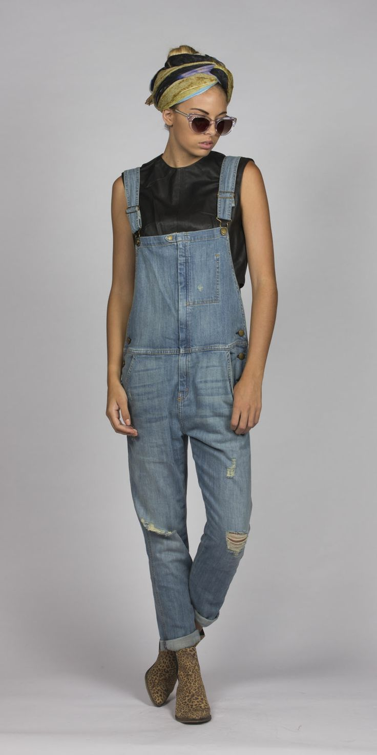 www.mcleanandpage.com Shop Current Elliot overalls, turban, Leopard boots & Leather crop top.