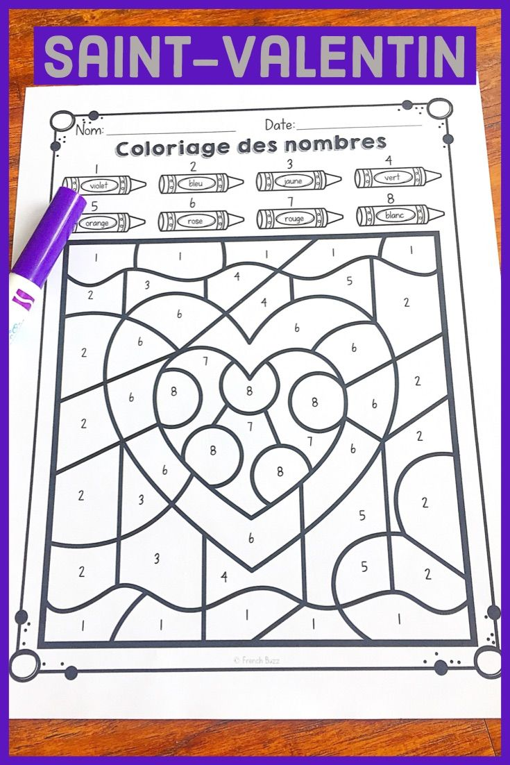 La Saint Valentin French Valentine S Day Color By Code In 2021 Fun French French Lessons Kindergarten Activities