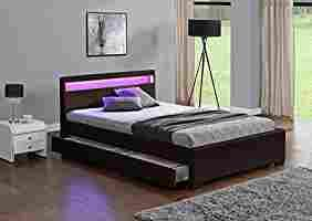 Exclusive Harmin Designer Double Sized Musical, Bluetooth LED Colour Changing Brown Faux Leather Bed Frame with Remote for LEDs