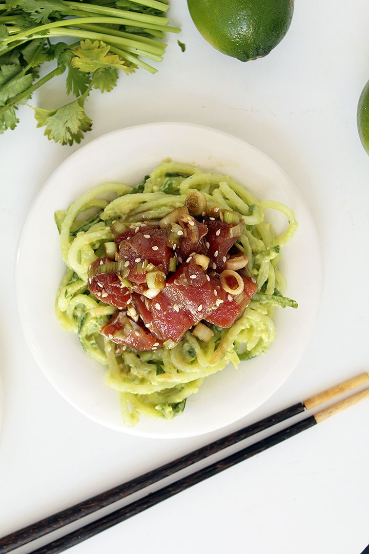 Ahi Tuna Poke Bowls with Avocado and Cucumber Noodles by inspiralized #Poke_Bowl #Ahi #Paleo #Healthy
