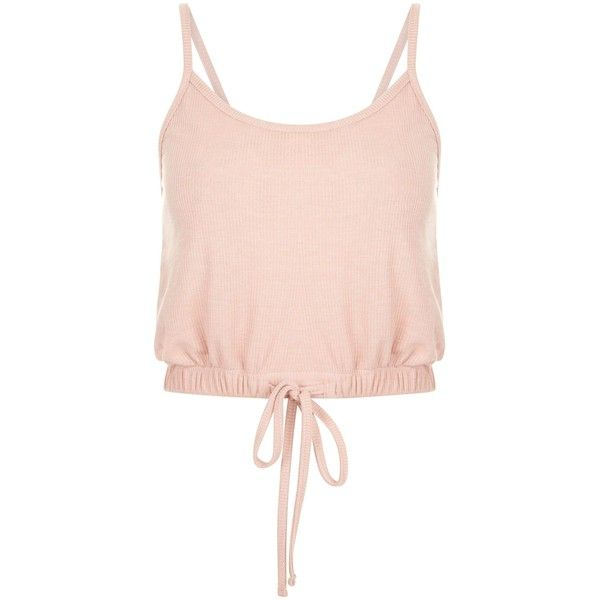 Pink Tie Hem Cropped Cami Top (5.930 CRC) ❤ liked on Polyvore featuring tops, crop top, shirts, pink top, pink crop top, cropped camisoles, crop shirt and pink camisole