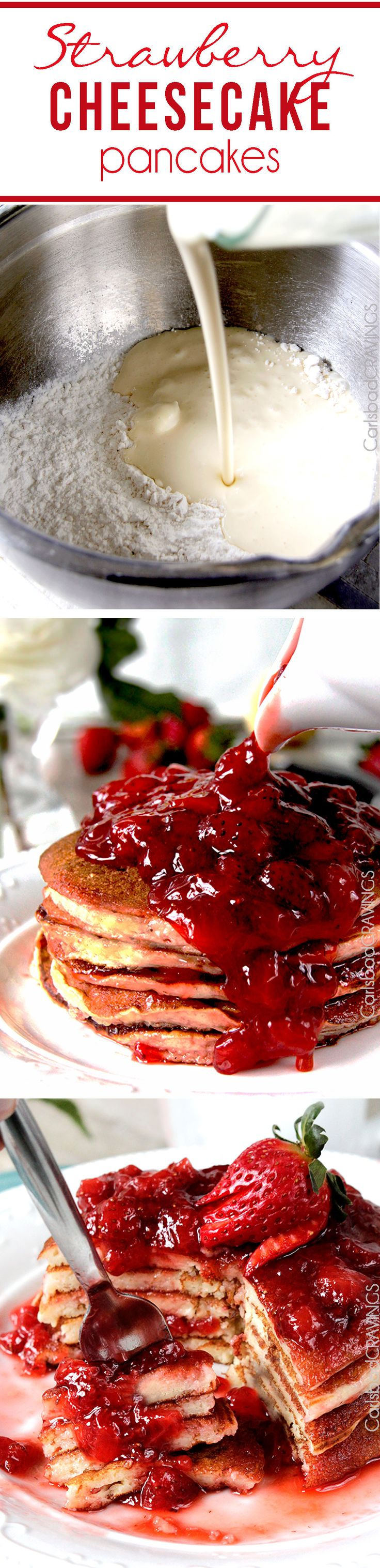 Sweet for Valentines Morning! Easy Strawberry Cheesecake Pancakes = cheesecake filling + pancake dry ingredients + fresh strawberry syrup = cheesecake for breakfast!