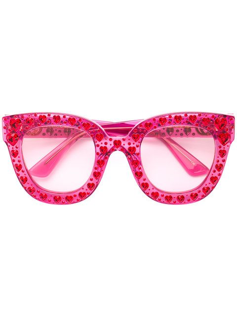 8bc675e012e Shop Gucci Eyewear Embellished Heart Sunglasses for  1