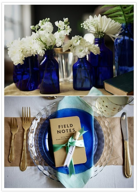 blue glass....we'll have yellow flowers, but this is pretty much our centerpiece ideas