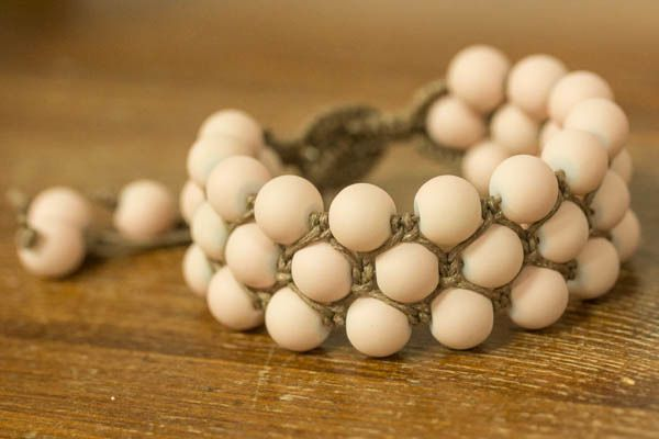 Ready and charming, hand-woven bracelet. Glass beads were combined with cotton twine weave macrame.