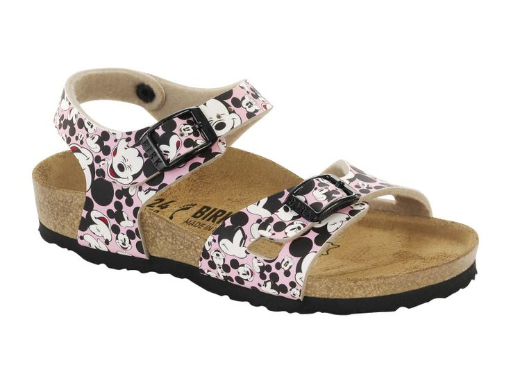 Birkenstock Rio Kids Birko-Flor in Funny Mickey Heads Rose (Classic Footbed - Suede Lined)