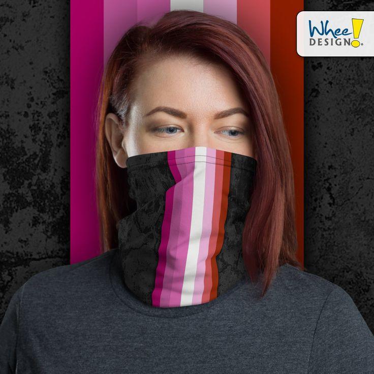 Pink Lesbian Pride Flag Stripe Neck Gaiter/Face Mask