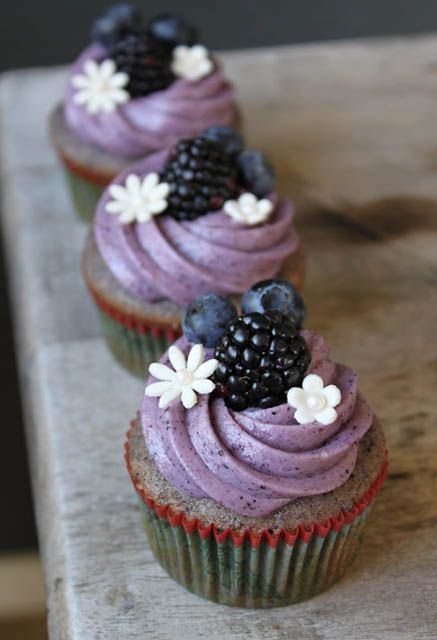 Blackberry Cupcake with Blueberry Cream Cheese Frosting