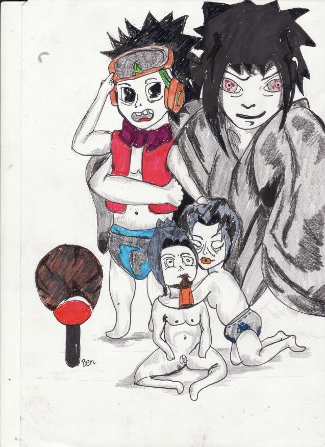Sasuke,itachi,obito,madara  Little kids clan uchiha