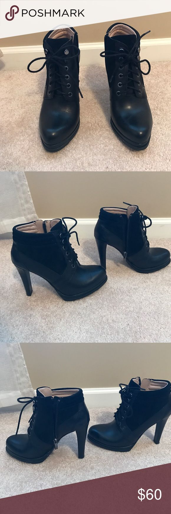 FRENCH CONNECTION BOOTIES worn once Heeled lace up booties with instep zipper. Worn once, excellent condition. Black with leather and suede. French Connection Shoes Heeled Boots