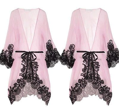 Women Sexy Pink Lace Sleepwear Chemise Kimono Sleep Nighty Gown Bath Robe sleeping dress