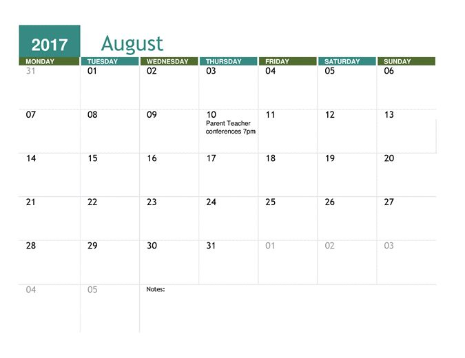 Academic calendar (any year)