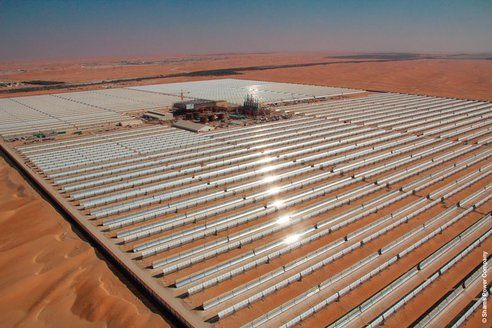 World's largest concentrated solar power station (100 MW) begins operations in Abu Dhabi