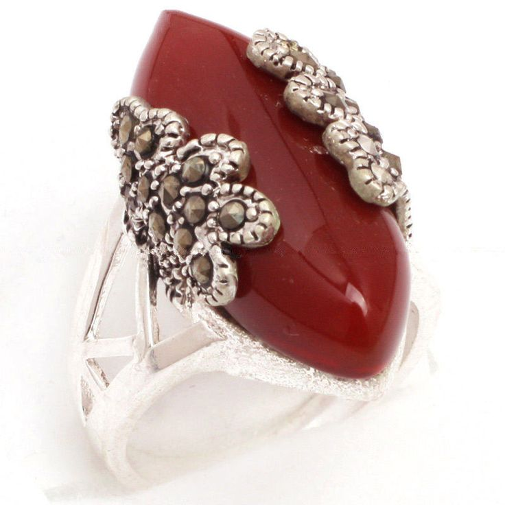 Vintage 925 Sterling Silver Natural Red Agate Gems Marcasite Ring Size 7/8/9/10