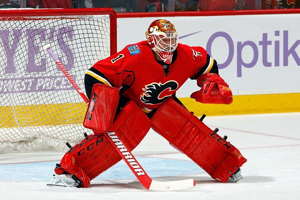 Brian Elliot of the Calgary Flames skates against in the warmup before an NHL game againsth the Ottawa Senators on October 28 2016 at the Scotiabank...