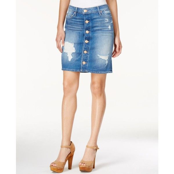 True Religion Button-Up Ripped Denim Skirt ($199) ❤ liked on Polyvore featuring skirts, bowie blue destructed, denim skirt, white skirt, distressed denim skirts, ripped denim skirt and distressed skirt