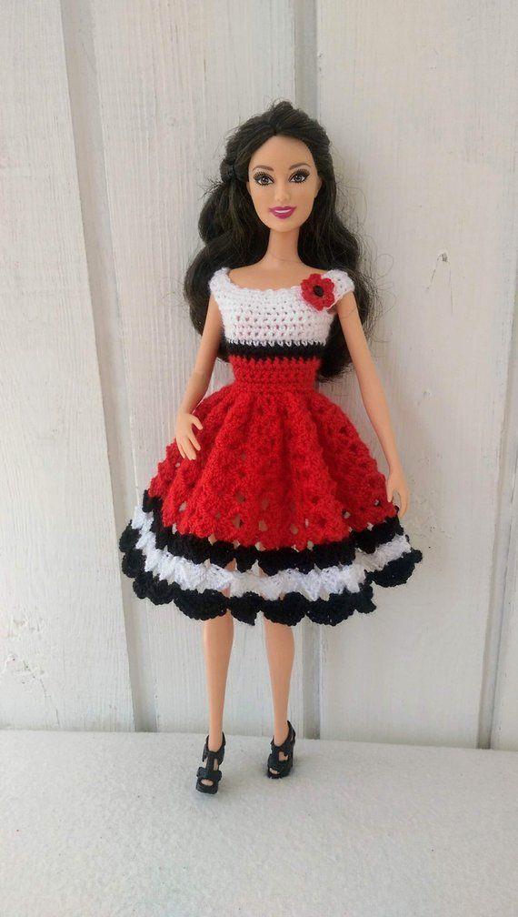 Barbie Clothes Barbie Crochet Dress For Barbie Doll Barbie Crochet