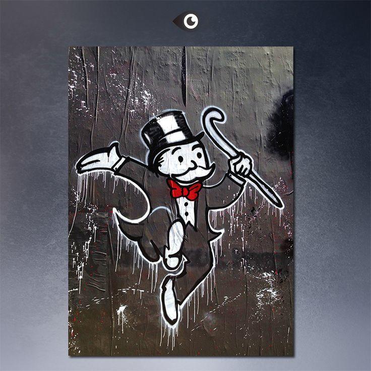 На стенах Алек монополия wall street art печать холст ПОП-АРТ Жикле плакат печать на холсте для настенной живописи