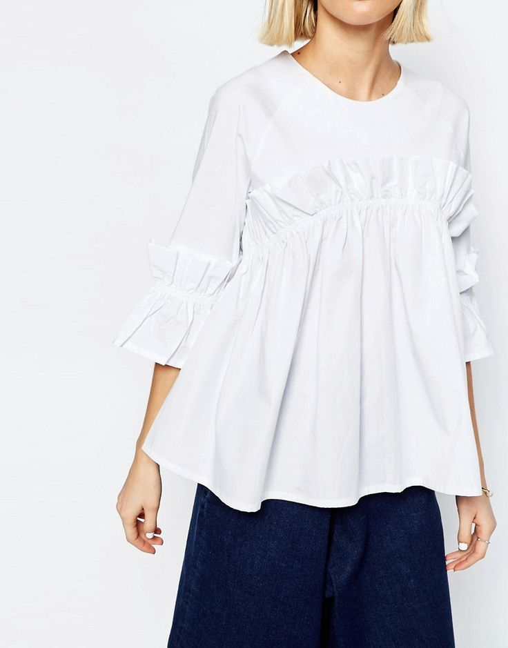 Image 3 of ASOS WHITE Frill Top With Contrast Fabric